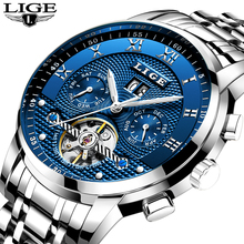 LIGE Mens Watches Top Brand Luxury Automatic Mechanical Watch Men Full Steel Business Waterproof Sport Watches Relogio Masculino loreo mens watches top brand luxury business automatic mechanical watch men sport submariner waterproof 200m steel clock 2018