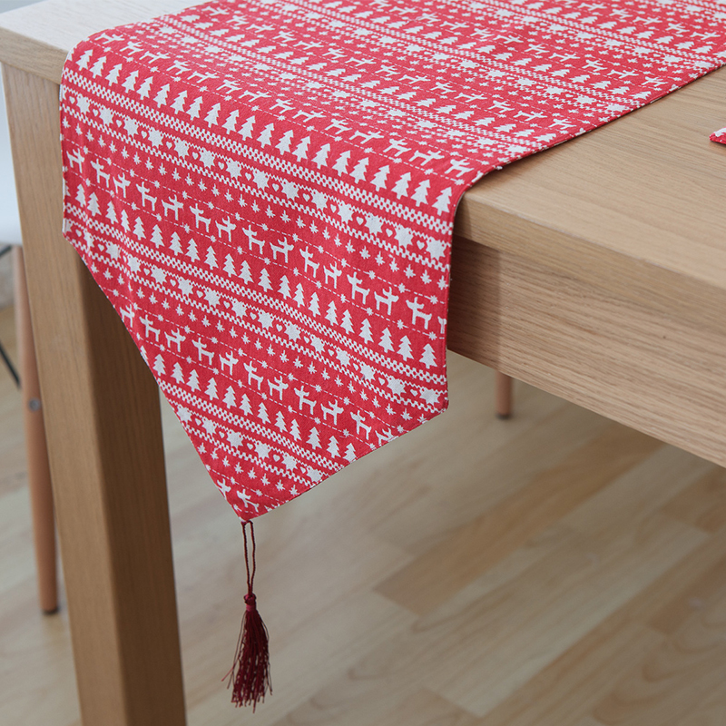 BZ375 American Country Style Table Runner Emerald Red Deer Linen Knitted  Printed Character Animal Table Runner