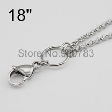 ALL STAINLESS STEEL floating chains 18'' 0.9 wire 2.5mm width for dangle charm floating glass locket,floating locket chains(China)