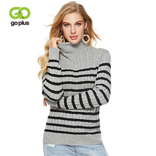 GOPLUS 2019 Winter Striped Knitted Sweater Women Turtleneck Long Sleeve Loose Pullover Fashion Casual Befree pull Female