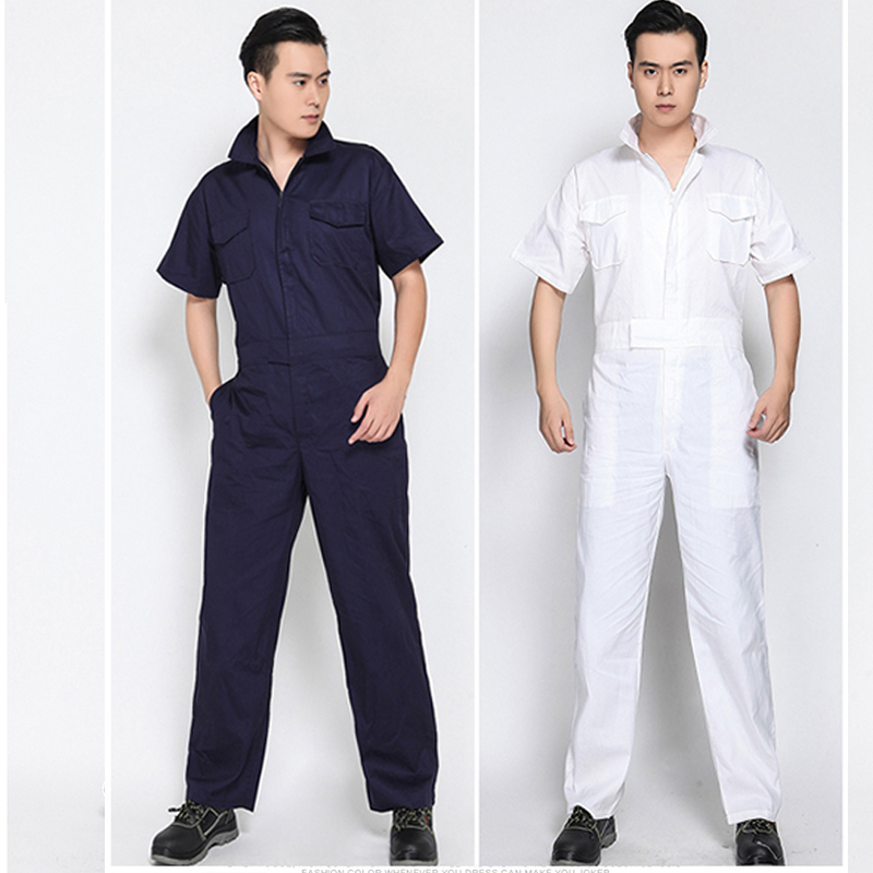 Overalls Men Sets Short sleeve Overalls Jumpsuit Safety Clothing Thin Leotard Repair Auto Welders Crew Painter Car Wash Worker