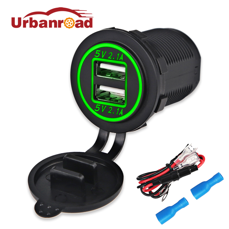Fishberg 12V 24V USB socket car charger for Motorcycle Auto Truck waterproof Car power port dual usb adapter charger 2 Port top quality 12v 24v dual usb waterproof motorcycle 2 1a dual usb charging cable to sae phone charger power adapter outlet parts
