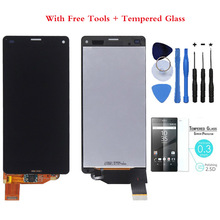 Tempered Glass +100% Tested OEM For Sony Xperia Z3 mini LCD Z3 compact LCD Display Touch Screen Digitizer Assembly B