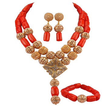 New Dubai Gold Bold Statement Necklace Jewelry Set Orange African Beads Wedding Nigerian Costume Jewellery Set RCBS04