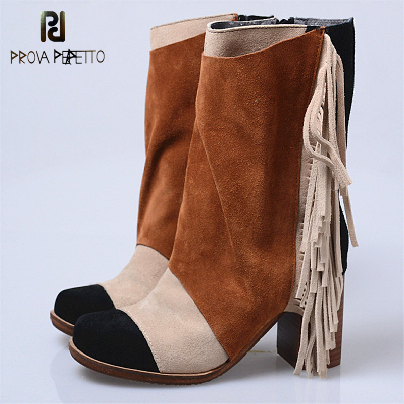Prova Perfetto Warm Round Toe Zipper-Side Chunky High Heel Women Boots Fashion Mixed Color Tassels Cow Suede Leather Short Boots women irresistible suede color patchwork ankle boots round toe chunky heels classic side zip short boots new arrival this year
