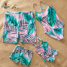 Family Swimwear Palm Tree Matching Swimsuit Mother Daughter Baby Bikini Dad Son Swim Trunks Family Matching Clothes Outfits Look leopard swimsuits family matching swimwear mother daughter bikini dad son swim trunks mommy and me family outfits look e0200