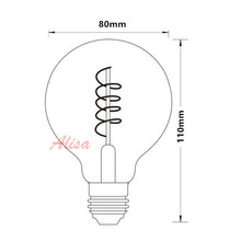 Free Shipping 10pcs Vintage Spiral Lamp AC110-220V G80 Dimmable 4W 2200K Soft Flexible Filament LED Bulb For Bar home decorate