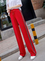 Red Wide Leg Pants Women Summer 2019 New Elastic High Waist Plus Size Joggers Women Casual Loose Palazzo Sweatpants Trousers