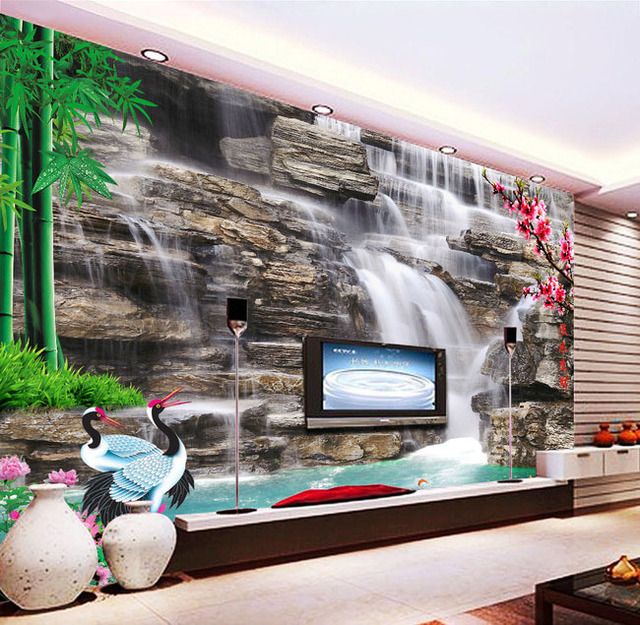 Wallpaper wall stickers delivered free 3 d cube hd 3 d waterfall feng shui tv setting