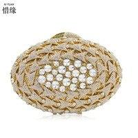 Xiyuan бренд золото Хрустальный цветок Для женщин золото вечерний minaudiere клатч Свадебный Алмаз сумочка Свадебная вечеринка коктейль кошелек