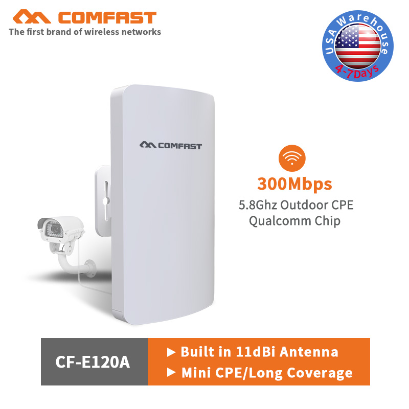 Comfast 5.8Ghz Outdoor Access Point AP With 11dBi WI-FI Antenna Wireless Bridge 300Mbps 2KM Range WIFI CPE Repeater For IP Cam