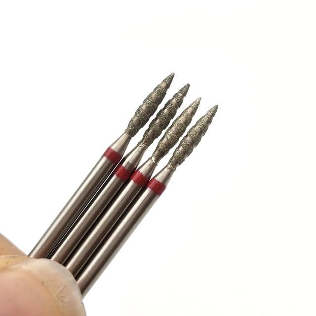 "HYTOOS 1Pc Tornado Flame Diamond Nail Drill Bit 3/32"" Manicure Cutters Rotary Burr Drill Accessories Spiral Nail Mills Tool 4"