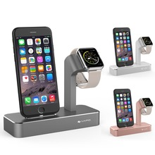 ФОТО metallic pc holder for iphone 6s plus 6 5s 5 charging dock station cradle for apple watch 38mm 42 mm desktop charge stand