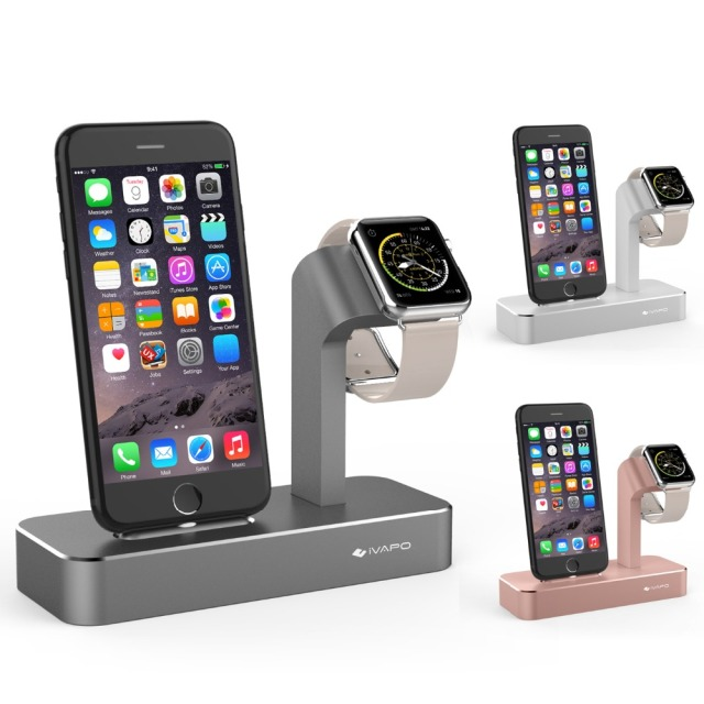 new arrival e6ccd a7ea7 US $36.99 |iVAPO For iPhone Charger For Apple Watch Series 3/2 For iPhone 8  Plus /7 Plus Charger Stand Solid Aluminum Charging Dock Station-in Mobile  ...
