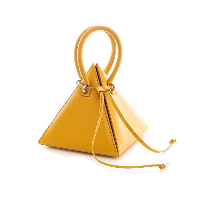 ae211d39fa6e Pyramid Cone Novelty Day Clutches Women Leather handle Small Tote  Triangular Handbag Girls Kawaii Drawsting Bucket