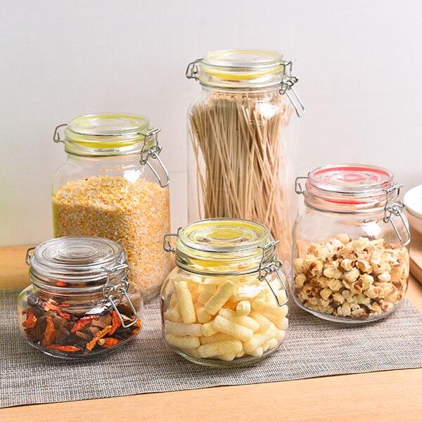 Glass sealed bottle grain storage bottle tea caddy honey jar candy jar kitchen food container home organizer