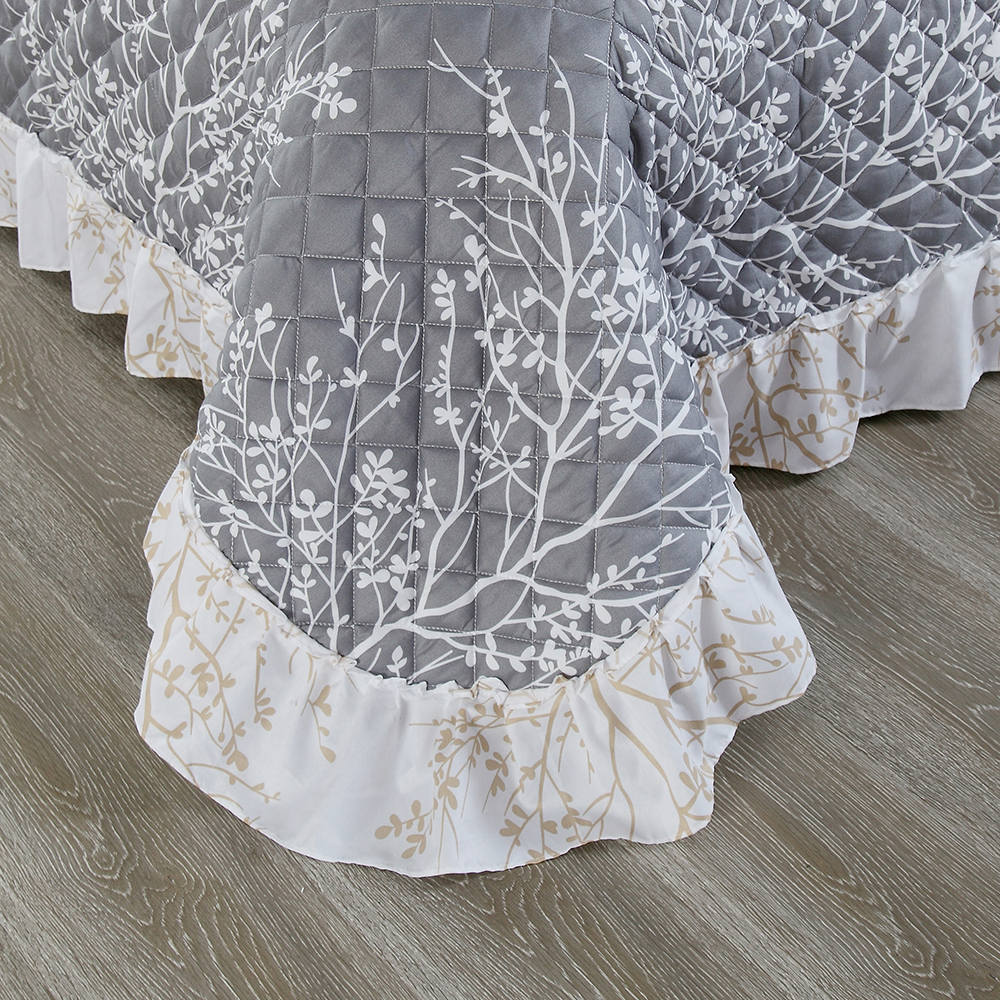 3D Printed White Branch Bedspread Gray Comforter 3 Pieces Skirt Design Summer Thin Quilt with 2 Pillowcase Air Conditioner Quilt - 3