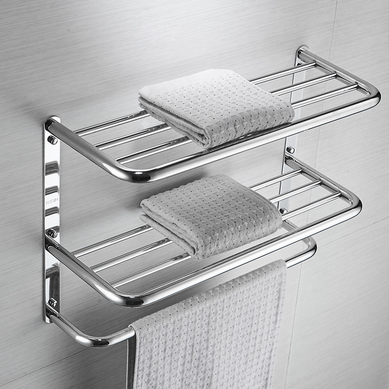 AUSWIND Hotel stainless steel towel rack three-story bathroom bathroom shelves pendant towel rack stainless steel wall mounted sucker bathroom towel rack stainless steel bar folding frame multi pole hanging