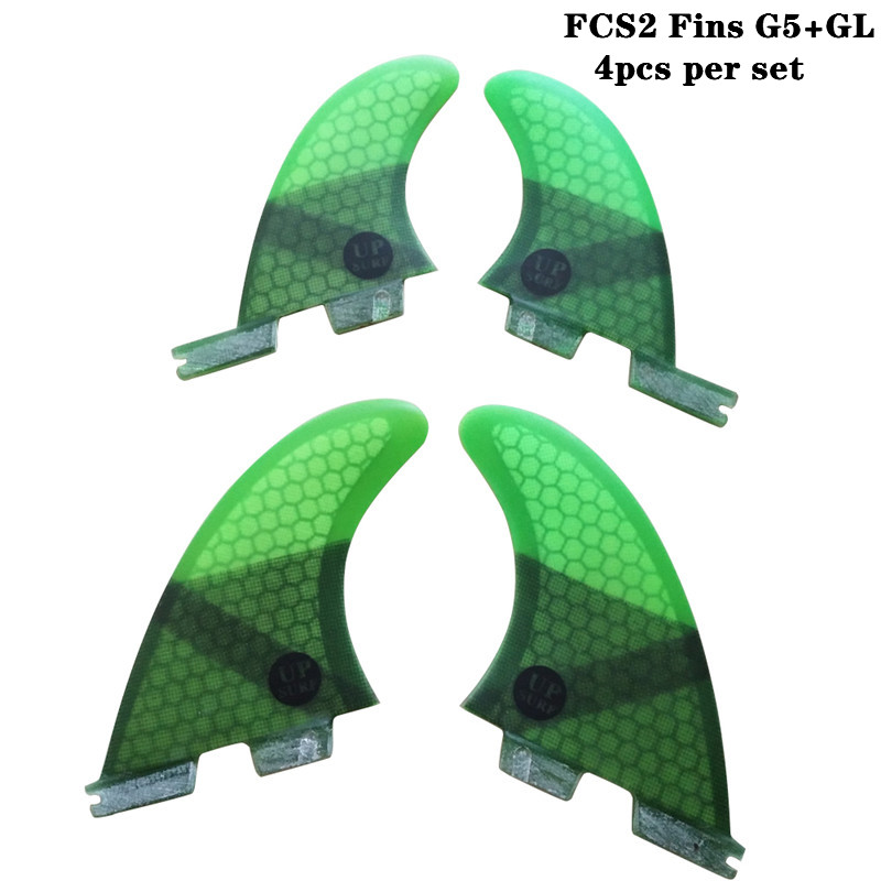 FCSII G5 GL Surfboard Blue Black Red Green color Honeycomb Fins quad fin set FCS 2