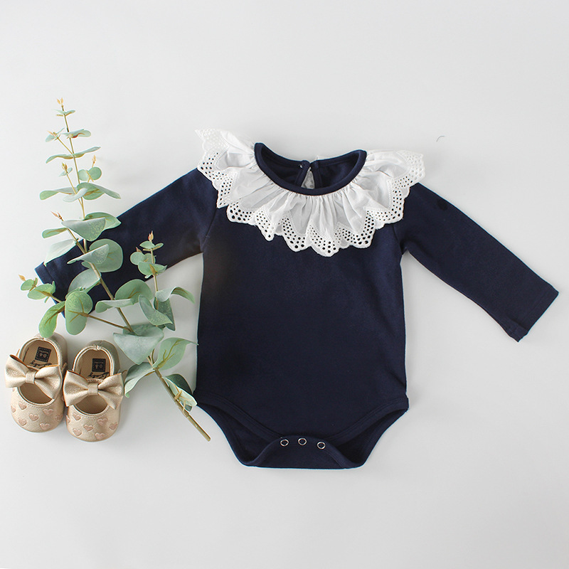 Baby girls summer bodysuit birthday party cotton lace princess bodysuit jumpers