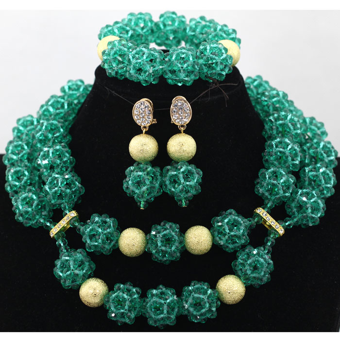 Latest Teal Green Crystal Balls Choker Necklace Set Women Birthday Party Presant Jewelry Bracelet Beads  Set Free Shipping QW023