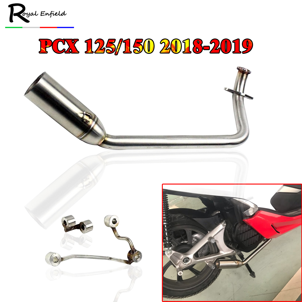 Tube Muffler Exhaust-Pipe-System Pcx 150 Motorcycle Pcx125 Honda Pcx Mid-Pipe for Without