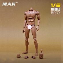 купить 1:6 Scale Nude Body Action Figure Male Narrow shoulder Muscular Body Model Accessory for 12 Dragon Action Figure Toy дешево