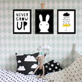 M4 Never grow up rabbit cloud rain back Digital Poster Canvas Picture Wall Art Oil Paintings Quadro Nursery Kids Room Decor