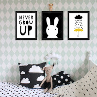 Never Grow Up Rabbit Cloud Rain Back Digital Poster Canvas Picture Wall Art Oil Paintings Quadro