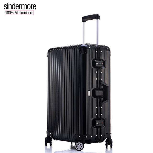 "sindermore A1029 20""25"" 100% all aluminum alloy casting High-end travel business travel trolley case Roller hard case suitcase"