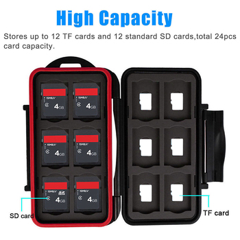 New Waterproof Memory Card Case Hard Protector Box Storage Holder Cage Fits 12 SD or 12 TF Cards Green/Red