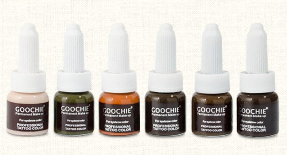 Goochie Permanent Makeup Cream Eyebrow Pigment, Professional Tattoo color for eyebrow 10g/pc 2 pcs pack of goochie permanent makeup painless gel eyebrow