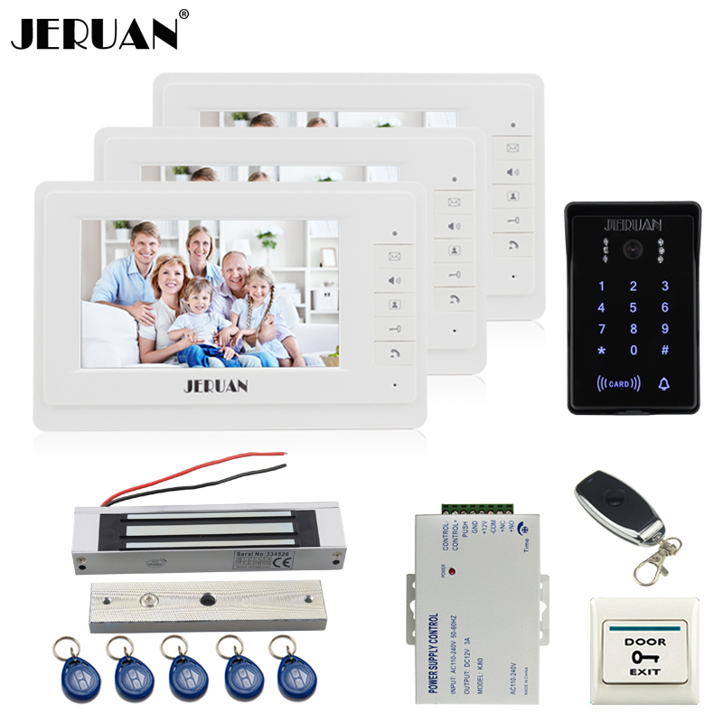 JERUAN 7 inch LCD video doorphone intercom system Kit 3 monitor New RFID waterproof Touch password keypad Camera Magnetic lock rfid keyboard ip65 waterproof video doorphone intercom system for 3 apartments with 7 color lcd video intercom system in stock