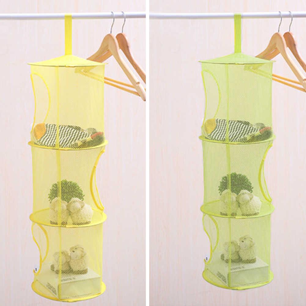 3 Tier Mesh Hängende Lagerung Tasche Spielzeug Schlafzimmer Tür Wand Schrank Home Organizer Taschen Faltbare Nest Korb Bh