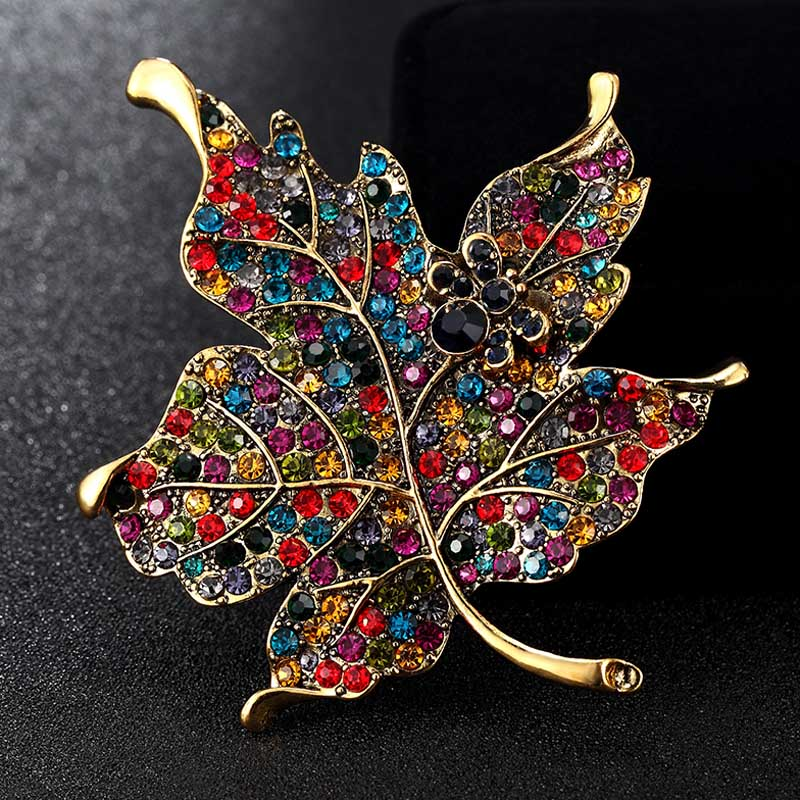 Blucome Enamel Brooches Jewelry Big Size Leafs Brooch Pins For Women Party Gifts Rhinestone Crystal Brooch Broaches