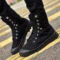 Venta caliente de Los Hombres de Calidad Zapatos Ocasionales de Los Hombres Altos Zapatos de Lona Superiores Sólido británicos Hombres de La Manera Cargadores de los Útiles Zapatos Nuevos Zapatos tubo volteado