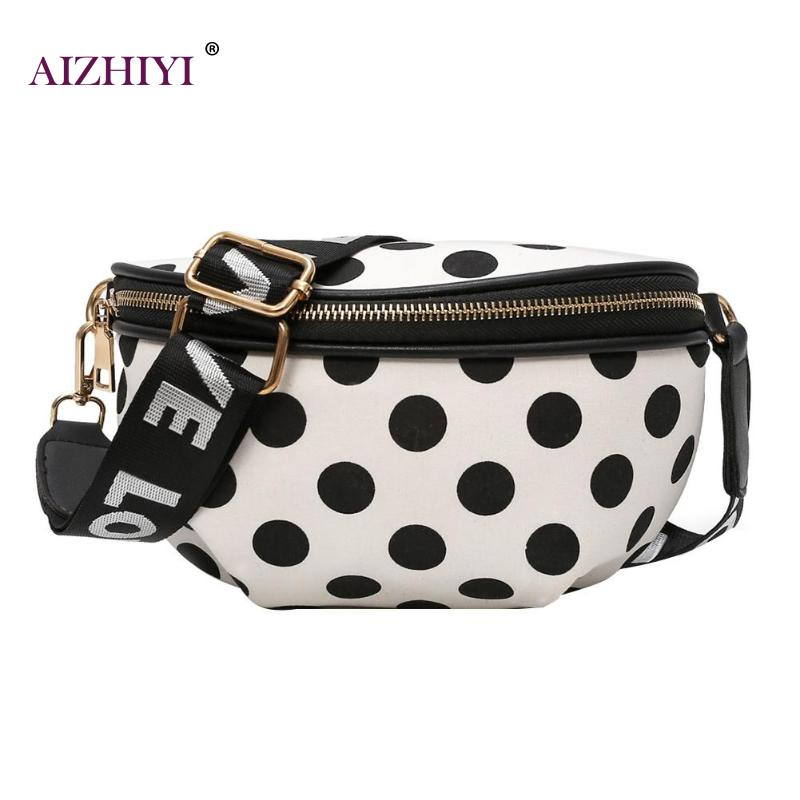Women Casual Nylon Shoulder Waist Bags Female Stylish Dots Crossbody Belt Chest Waist Pack Girls Simple Mini Zipper Waist Packs stylish mid waist cuffed denim ripped shorts for women