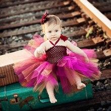 2016 Высокое качество Горячей Девушки Цветка Платья для Свадьбы Розовый и коричневый 2Y Мило Lnfants и Маленькие Дети Вечернее Платье Ребенок Партия