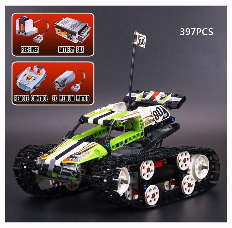 ФОТО Hot technics RC Tracked Racer building block radio remote control car model bricks compatible lego42065 assemblage toys