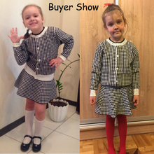 Knitted Long Sleeve Plaid Jackets and Skirts