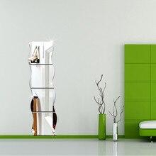 Paquet de 1 X 3D Wave moderne chambre miroir Mural autocollant Art vinyle Mural décor autocollant Mural vinilos decorativos para paredes