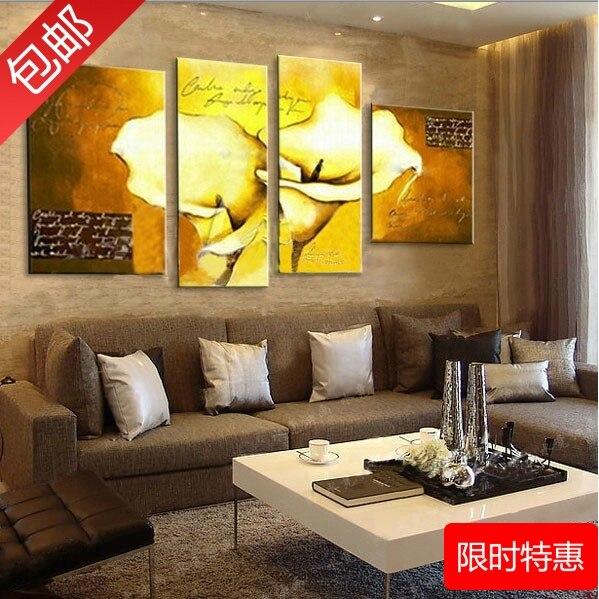 66493d5bc اليدوية الرسم 4 قطعة/المجموعة الزهور مجردة اللوحات الرئيسية الديكور الحديثة  صورة الأصفر لل نوم/غرفة المعيشة ديكور