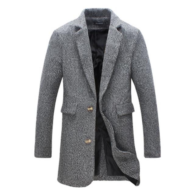 Nuevo 2016 de los hombres de moda de Corea ocasional sección larga simple de alta calidad de color sólido traje chaqueta de lana de cuello M-5XL
