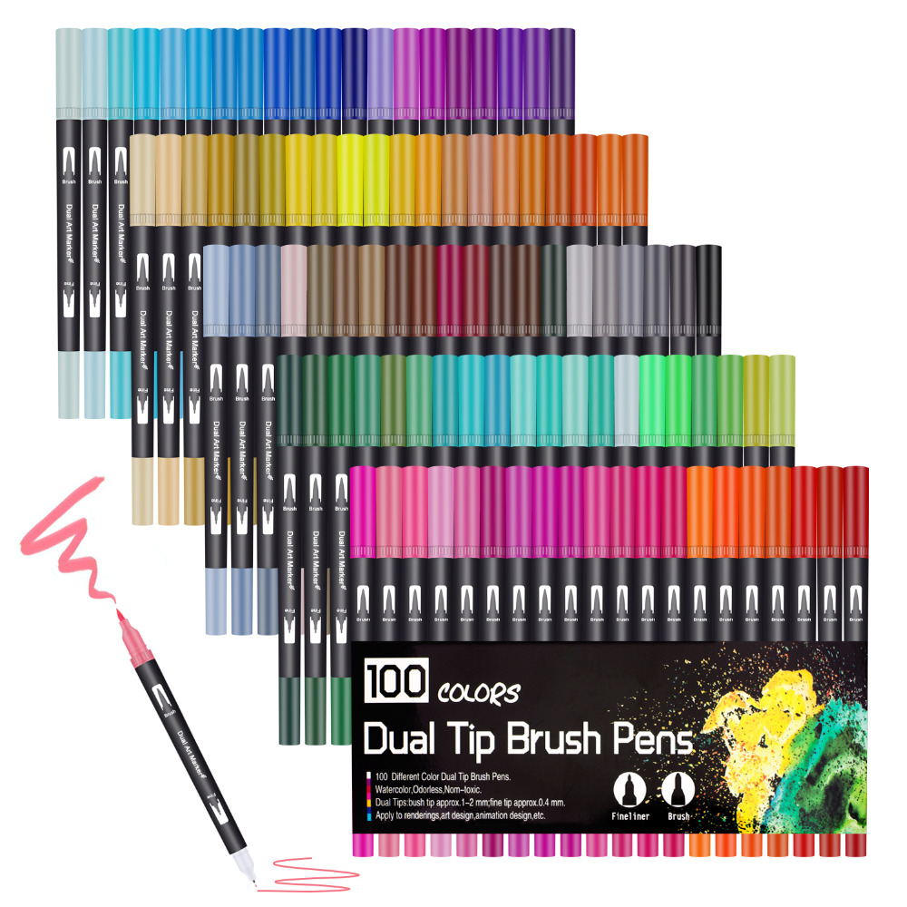 100 Colours Watercolour Brush Pen 2mm Brush Tip and 0.4mm For Fine Tip Dual Tip Art Markers for Adult Colouring Drawing Painting