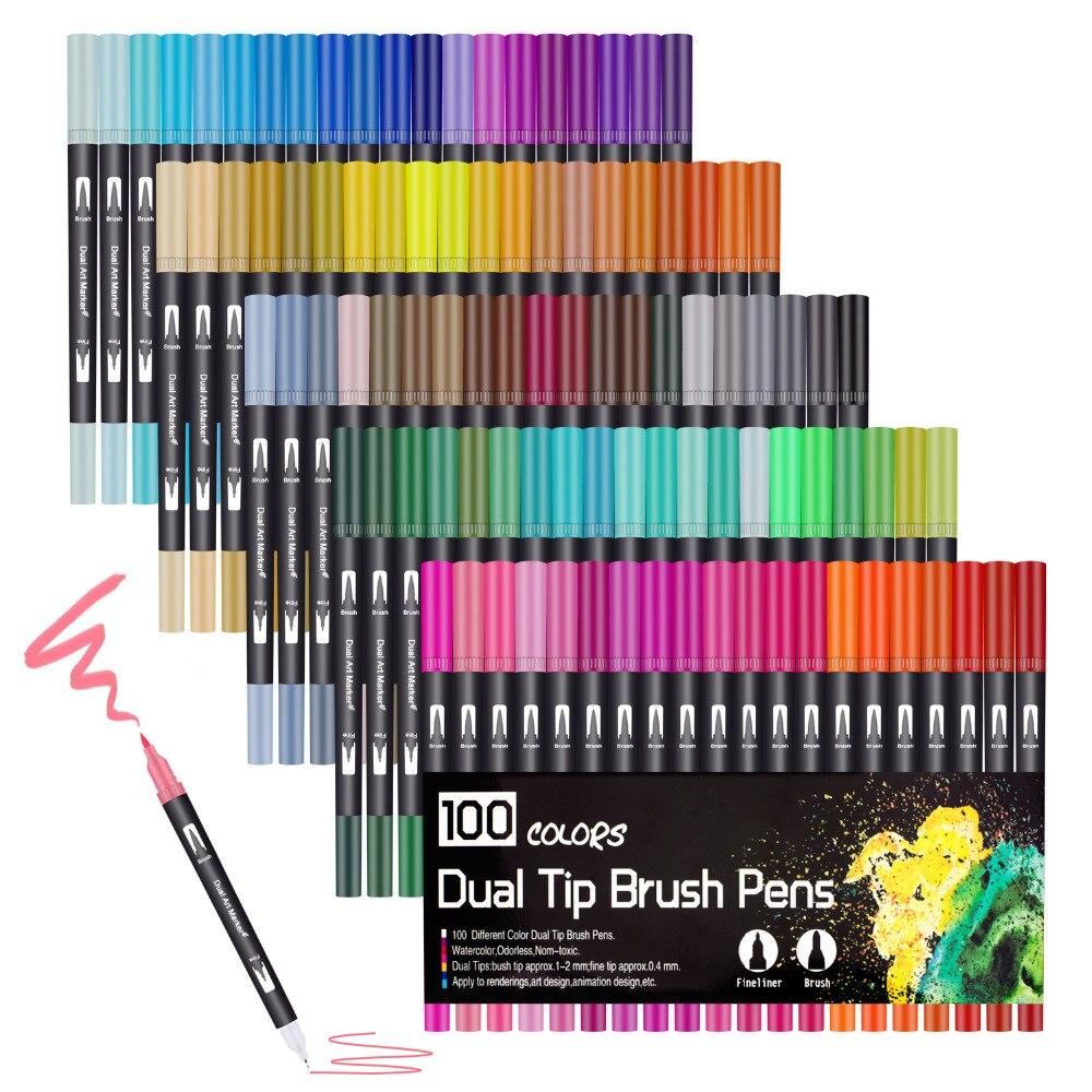 100 Couleurs Aquarelle feutres brush pen 2mm marqueur effacable et 0.4mm Pour Pointe Fine Double Pointe Art Marqueurs pour Adulte Coloration dessin Peinture