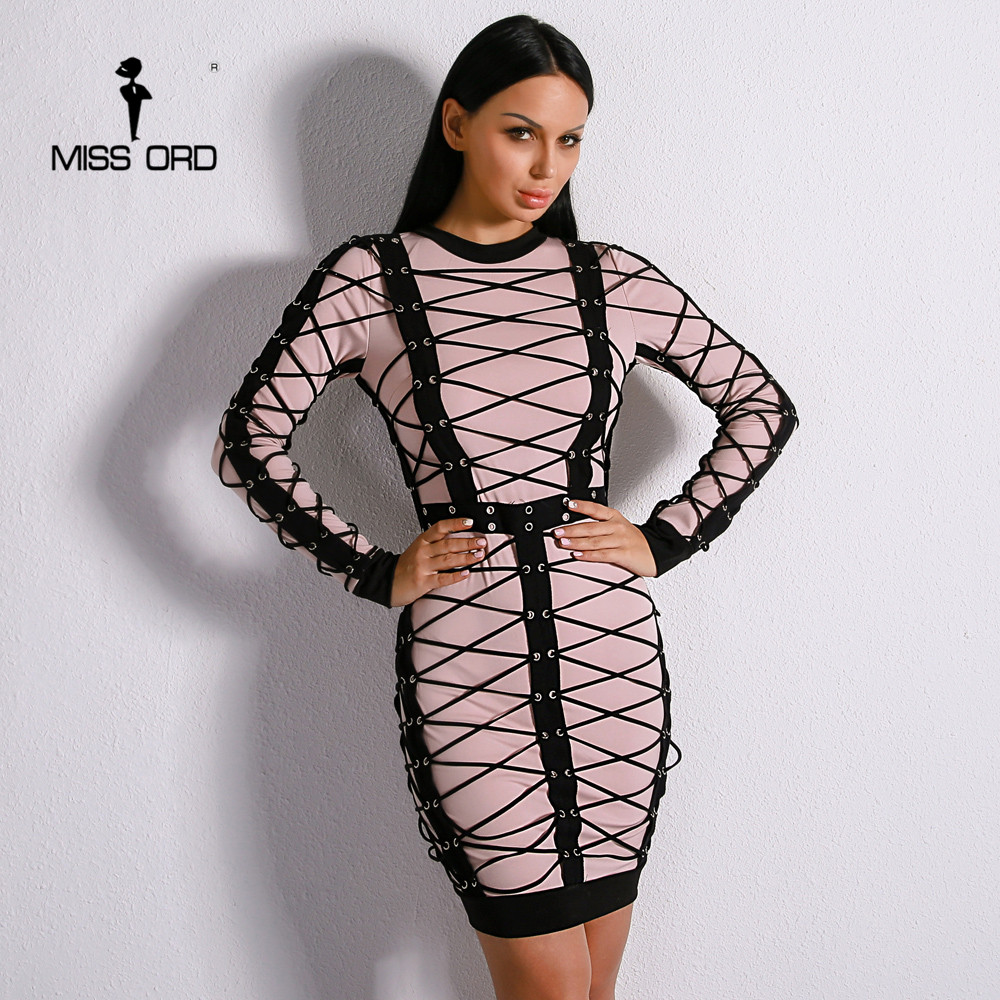 Missord 2018 Sexy Women New O Neck Long Sleeve Cross Bandage Elegant Mini Party Dress Vestidos