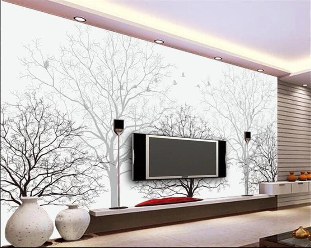 Beibehang Custom Tapete Fantasie Schwarz Und Weiß Baum Vögel Abstrakte Baum Stamm Tv Hintergrund Wal Tapete Wohnkultur