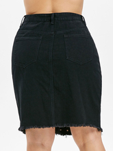 Women's High Waist Black Denim Skirt with Floral Embroidery