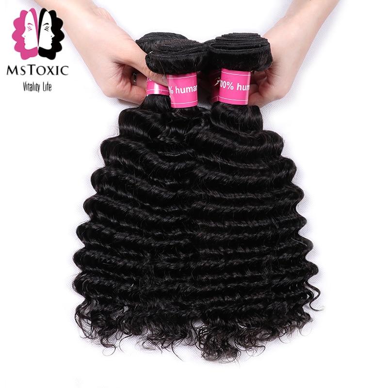 Mstoxic Deep Wave Bundles brazil hajszövő kötegek 8-30 hüvelykes emberi hajcsomagok Non Remy hajhosszabbítások Természetes szín