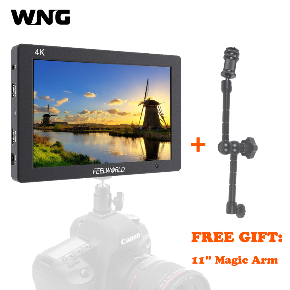 WNG Feelworld T7 7 Inch IPS 4K HDMI Monitor 1920x1200 Solid Aluminum Frame Camera Field Monitor with Peaking Focus False Colors feelworld fw760 fullhd 1920x1280 7 camera video ips filed monitor hdmi peaking focus assist contrast 1200 1 wide view angles